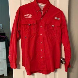 EUC Columbia pfg red Citadel fishing shirt